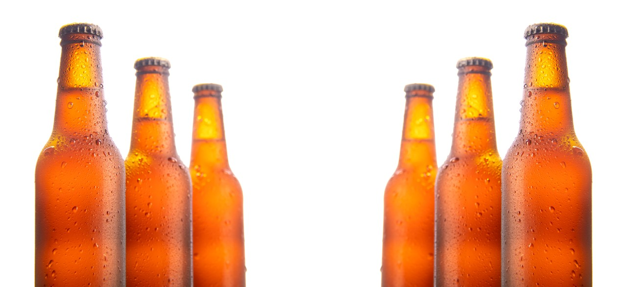 Set of six beer bottles isolated on white background